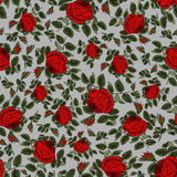 Red roses. Seamless gray background with red roses Royalty Free Stock Photo