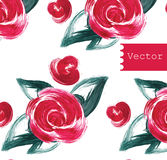 Red roses seamless pattern. Vector illustration. Hand drawn. Stock Photography