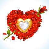 Red Roses in the shape of heart with arrow. Red Roses and golden jewel in the shape of heart with arrow Stock Photos