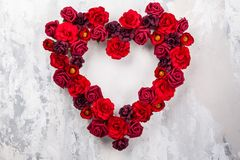 Red roses in shape of heart Stock Photography