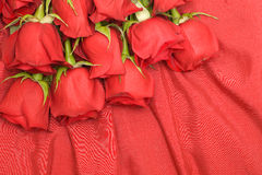Red roses and silk background Stock Photography