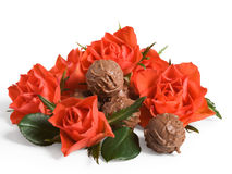 Red roses and truffles Royalty Free Stock Images