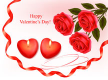 Red roses and two heart candles. Vector. Valentine`s day background. Red roses and two heart candles. Vector Royalty Free Stock Photography