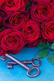 Red roses with two keys Stock Images