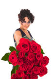 Red roses and valentine dress Stock Photography