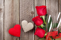 Red roses and Valentine`s day hearts Royalty Free Stock Photo