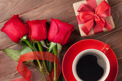 Red roses, Valentines day gift box and coffee Royalty Free Stock Photo