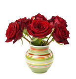 Red roses in a vase Stock Photos