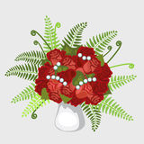 Red roses in vase with plants and pearls. Bouquet of red roses in vase, decorated with plants and pearls Stock Photo