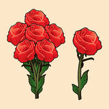 Red roses. Vector with leaves.symbol, icon, graphic, vector Royalty Free Stock Image