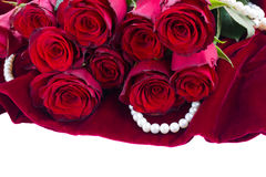 Red roses on velvet Royalty Free Stock Image