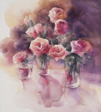 Red roses watercolor Stock Photos
