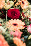Red roses wedding bouquet close up. Red roses and orange gerberas bouquet closeup Stock Photo