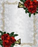 Red roses wedding invitation  Stock Image