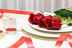 Red Roses on white background. Romantic composition for Valentine`s Day, Anniversary, Events. Place for text Stock Photography