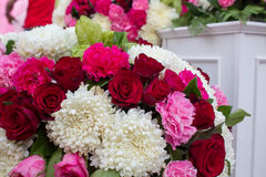 Red roses and white Chrysanthemum in wedding Royalty Free Stock Photo