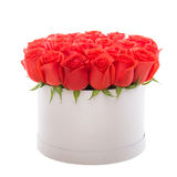 Red roses in white luxury present box. Flower box. Royalty Free Stock Images