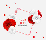 Red roses and white mallow, rudbeckia flowers and square for text. Flower banner Stock Image