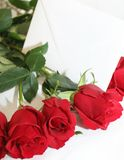 Red roses with a white note. This roses bouquet is ideal for some celebration date Stock Photo