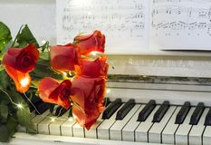 Red roses on a white piano with notes. And garlands stock photo