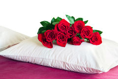 Red roses on a white pillow Stock Images