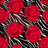 Red roses wild skin leather seamless pattern background Stock Photos