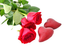 Free Red Roses With Hearts Stock Photos - 66157063