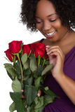 Red Roses Woman Stock Photo