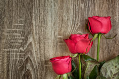 Red roses on wood Royalty Free Stock Photos