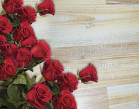 Red roses on the wood Royalty Free Stock Photography