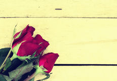 Red roses on wood texture for background. Royalty Free Stock Photos