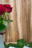 Red roses on wooden background. With space for text royalty free stock image