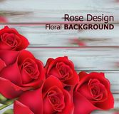 Red roses on wooden background Vector realistic. Beautiful floral backgrounds. Red roses on wooden background Vector realistic. Beautiful floral background Stock Photo