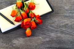 Red roses on wooden board, Valentines Day background Stock Photo