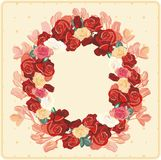 Red roses wreath Stock Photo