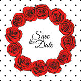 Red roses wreath and elegance dotted pattern around it Royalty Free Stock Images