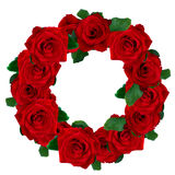 Red roses wreath. Isolated on white background Royalty Free Stock Photography