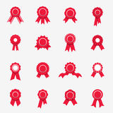 Red rosette icons. Symbols of quality, warranty, rewads. Vector Stock Photography