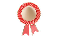 Red rosette winning award, prize, medal or badge with ribbons. 3 Stock Photo
