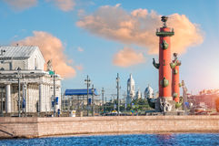 Red Rostral columns. On the Spit of Vasilievsky Island in St. Petersburg on a summer morning Stock Photography