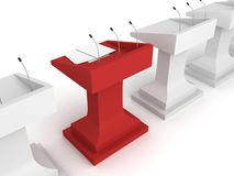 Red rostrum podium with microphone in white row Stock Photography