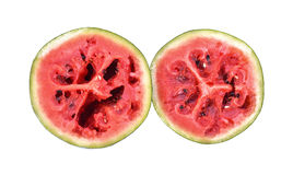 Red rot watermelon cut into pieces, placed on a white background Royalty Free Stock Image