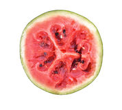 Red rot watermelon cut into pieces, placed on a white background Stock Photography
