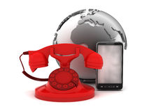 Red rotary phone, cell phone and earth globe Stock Photography