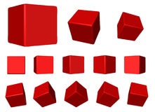 Red rotating cubes VECTOR. Vector illustration perspective view of a red beveled cube Royalty Free Stock Image
