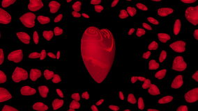 Red rotating hearts. Loop with alpha. stock video