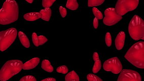Red rotating hearts. Loop with alpha. stock footage