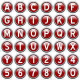 Red Round Alphabet Buttons Royalty Free Stock Photos