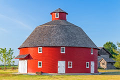 Red Round Barn. A red round barn stands on Indiana farmland Royalty Free Stock Image