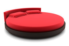 Red round bed isolated on white Royalty Free Stock Image
